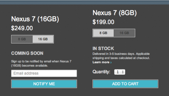 Google Sells Out Of 16gb Nexus 7
