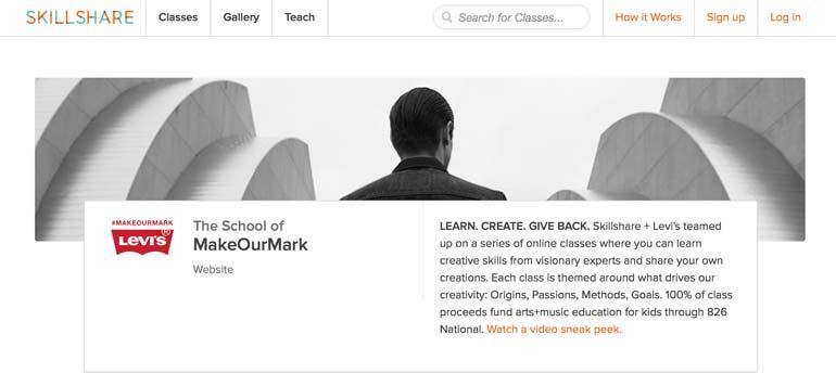 Skillshare, New York startup, Levis, MakeOurMark