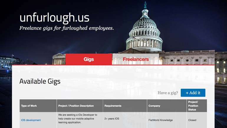 unfurlough.us, 1776, Startups, DC Startup, Government shutfown