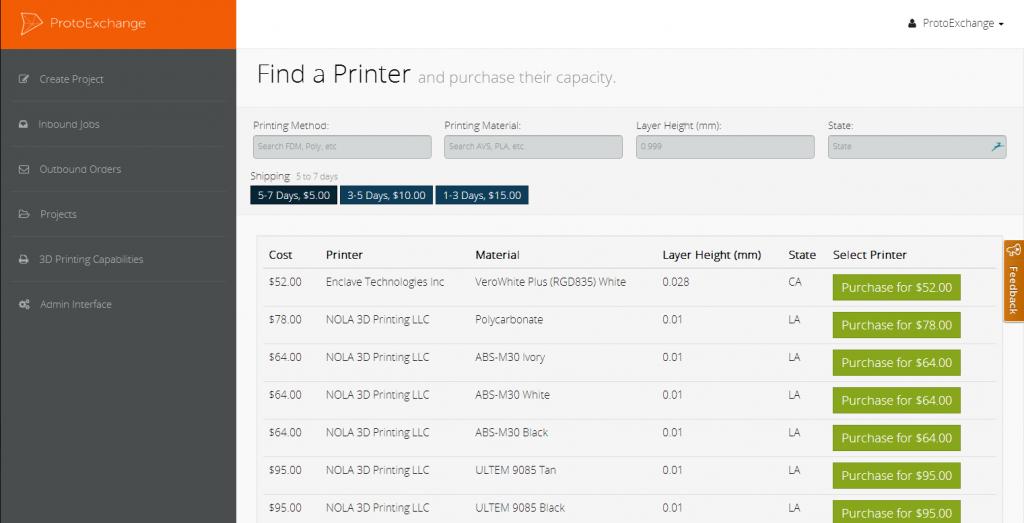 ProtoExchange 3D printers