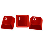 Red keyboard keys spelling BIG