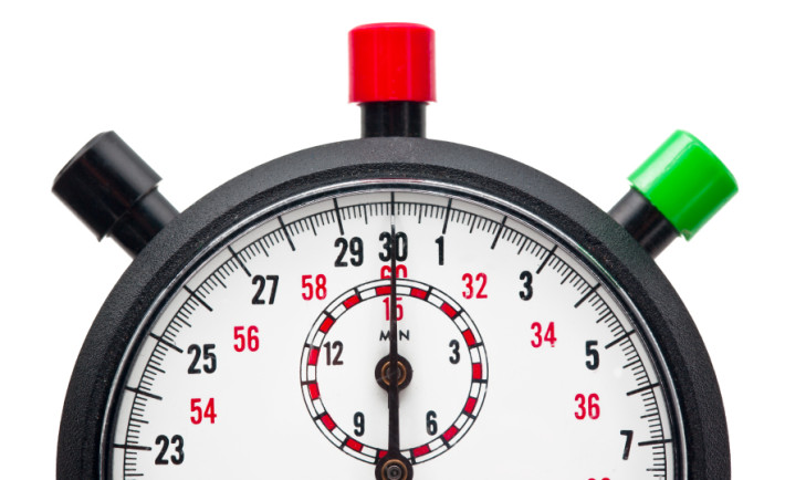 cropped image of a stopwatch on white