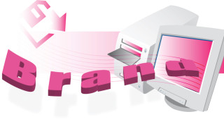 vector image of brand on computer screen