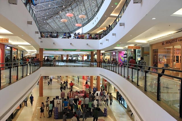 Business Escalator Indoors Stock Mall Shopping